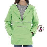 Monogrammed Wind & Waterproof Ladies' New Englander Rain Jacket  PULLOVER - 1 or 2 Monograms - Bright Green -  FREE SHIP