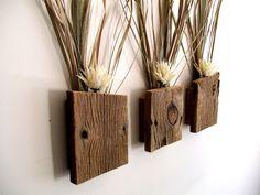 Set of 3 Rustic / Reclaimed / Barn Wood Wall Vase / Flower Sconce. $39.00, via Etsy.