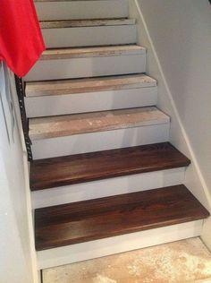 From Carpet to Wood Stairs Redo - Cheater Version. DIY From Carpet to Beautiful Wood Stairs - Cheater Version. Very Low Cost low Effort High Impact Home Update! Redo Stairs, Basement Stairs, Stair Redo, Basement Ideas, Basement Decorating, Diy Stair, Decorating Ideas, Basement Bathroom, Basement Ceilings