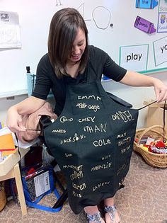Gift for student - a black apron and had the children sign it with a Sharpie gold paint pen. It was so simple and yet elegant. Love this idea