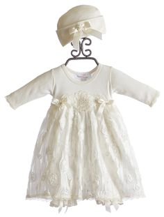Take Home Outfit - Katie Rose Baby Girls Bloomer Dress and Hat Ivory Sara $86.00