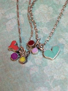 Tiny hearts and dots of color in fine silverand by Indigentdesign, $40.00
