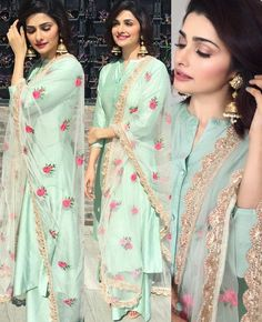 _Celebrity style_😜 *PRACHI DESAI* 🌹Shirt *modal silk* semi stitched fit up. Designer Kurtis, Indian Designer Suits, Indian Suits, Indian Attire, Indian Wear, Kurta Designs, Blouse Designs, Mode Bollywood, Bollywood Fashion