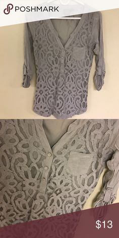 Anthropologie Long Sleeve Top Grey Half button 3/4 sleeve Cotton Shirt. Purchased at Anthropologie, size Small. The front has Lace detailing and a small pocket. Super comfy shirt, can be worn with jeans, leggings or white shorts! Anthropologie Tops