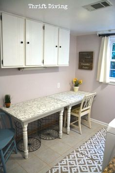 Cut A Leafed Table In Half And Mount To The Wall For A Long Narrow Table