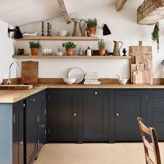 35 Admirable Farmhouse Grey Kitchen Cabinet Design Ideas - Page 10 of 35 Barn Kitchen, Grey Kitchen Cabinets, Home Decor Kitchen, Rustic Kitchen, Home Kitchens, Tuscan Kitchens, Kitchen Ideas, Cream Cabinets, Farmhouse Kitchens