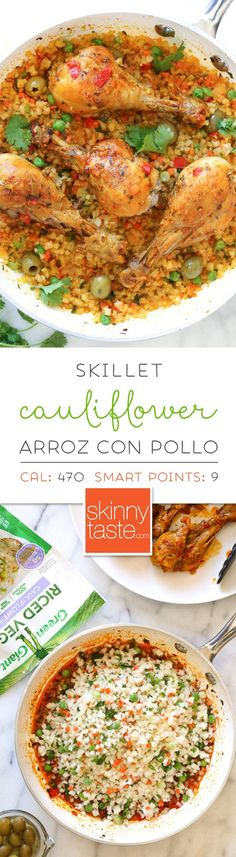 "Skillet Cauliflower ""Arroz"" Con Pollo (Spanish chicken and rice) is a dish I grew up eating, and is pure comfort food to me. This low-carb version swaps the rice for veggies, which means larger portions with 85% less calories than rice!"