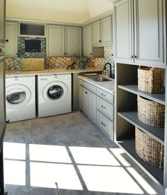 Laundry Room / utility room. Storage. Cabinets. Counter space. Home. Home ideas. Cool idea. Shelves. Sink in utility room. Drawers.