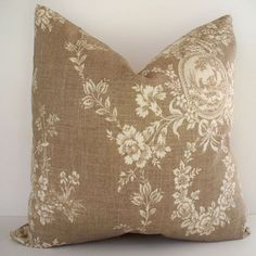 Your place to buy and sell all things handmade - French Country Toile Pillow Waverly Floral Tan by linenandoak - French Country Bedrooms, French Country Living Room, French Country Farmhouse, French Country Style, Country Bathrooms, Country Kitchen, French Country Crafts, French Country Fabric, French Country Bedding