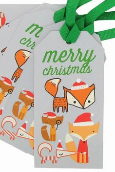 Paperchase holiday, christma tag, graphic, fox, gift tags, print patterns