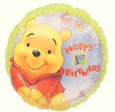 Pooh 1st Birthday Balloon  Price:  €28.65  18 Inch Foil Balloon. Message: Happy 1st Birthday