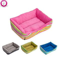 BOSUNTM Rainbow Stripe Pet Dog Bed PP Cotton Padded Dog Kennel Waterproof Bottom Canvas Breathable Puppy House >>> Continue to the product at the image link.