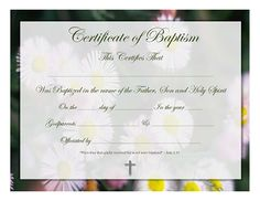 free religious baptism certificates templates | Here's a free printable for you.. a Certificate of Baptism in the name ...