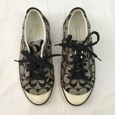 Coach sneakers Coach Barrett logo sneakers in black and white. Barely worn with box.    No trades // Only Poshmark transactions   Shar  Insta // Pinterest: sharguerieri Coach Shoes Sneakers