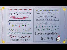 #MÁRGENES para #cuadernos y #BORDES para #cartas con #dibujos navideños #Doodle #Navidad #tarjetas #guirnaldas, #estrellas, bola de #nieve, #copo de nieve, #luces