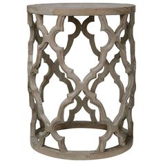 A round side table, expertly crafted from Recyled Elm for a vintage finish. The ornate lattice pattern around the sides elevates our Fontana Side Table from simple to incredibly beautiful, but the rustic finish of the wood means it will suit less formal schemes as well. A matching coffee table is also available.