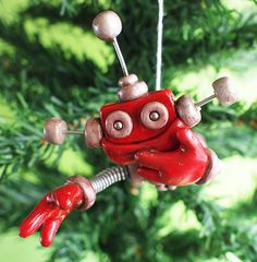 Rustic Red Reba JetPack Girl ROBOT CHRISTMAS by RobotsAreAwesome, $30.00