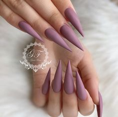 plum / purple matte stiletto nails