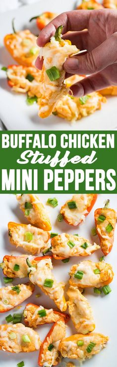 Buffalo Chicken Stuffed Mini Bell Peppers are the perfect appetizer!