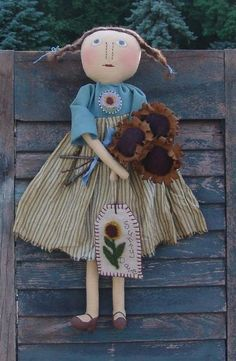 Etsy+の+Primitive+doll+pattern+Sunny+doll+with+by+CindysHomespun