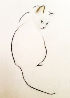 ARTFINDER: Cat Looking Over Her Shoulder Print by Kellas Campbell - I used charcoal and pastel pencils to draw my cat in this particularly sweet pose.  I use few lines, since simplicity best suits her elegance.