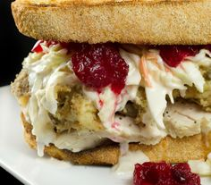 Thanksgiving Turkey Leftover Sandwich - I love putting cranberry sauce on my turkey sandwich. Leftover Turkey Recipes, Leftovers Recipes, Turkey Leftovers, Thanksgiving Recipes, Holiday Recipes, Thanksgiving Turkey, Holiday Meals, Chester, Stuffing Casserole