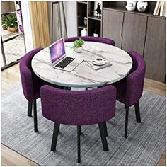 Farmhouse Style Dining Table, Simple Dining Table, Modern Kitchen Tables, Glass Round Dining Table, Dining Table In Kitchen, Room Kitchen, Kitchen Living, Living Room, Dining Room Table Chairs