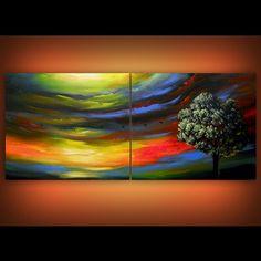 original psychedelic abstract painting tree sunset 56 x 22 Mattsart