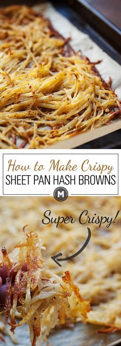 Sheet Pan Hash Browns: After much experimentation, this is the easiest and most failsafe way to make perfectly crispy (and flavorful) hash browns in the oven on a single sheet pan! You'll never stress over soggy potatoes again.   macheesmo.com