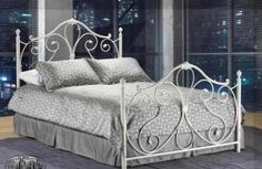 Ansley White Twin Wrought Iron Bed Frame - traditional - kids beds - toronto - Inspired Home Decor Metal Twin Bed Frame, White Metal Bed, Iron Twin Bed, Wrought Iron Bed Frames, Steel Bed, White Bedding, Bed Furniture, Bedroom Decor, Home Decor