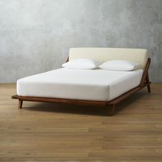 Shop Drommen Acacia Bed with Leather Headboard. Both architectural and comfy, master bed designed by Jannis Ellenberger is a dream from every angle. Wood Twin Bed, Wood Beds, Modern Platform Bed, Bed Platform, Modern Bedroom Furniture, Bed Furniture, Bedroom Decor, Luxury Furniture, Master Bedroom