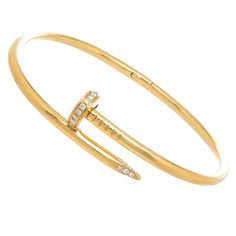 Cartier Juste Un Clou Diamond Gold Nail Bracelet | From a unique collection of vintage bangles at https://www.1stdibs.com/jewelry/bracelets/bangles/