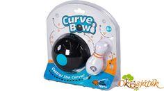 CurveBowl egy igazán egyedi bowling játék gyerekeknek. A bowling golyó ferdén gurul. A bowling golyó egy része súlyozva van, ezért teljesen másképp kell gurítani, hogy a bábut eltaláljuk. Nagy ügyességre és precizitásra van szükség. A játékhoz jár 10 db kihívás kártya, amelyen különböző nehézségi szintek vannak. Ezek a kártyák a bábuk és az akadály korongok helyzetét adják meg. Rendkívül szórakoztató és remek fejlesztő eszköz is.