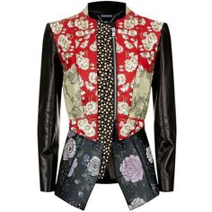 Alexander McQueen Floral Patchwork Leather Jacket (335.120 RUB) ❤ liked on Polyvore featuring outerwear, jackets, genuine leather jackets, embroidered jacket, embroidered leather jacket, real leather jackets and leather jackets