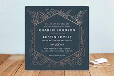 """Delicate Botanicals"" - Modern, Rustic Foil-pressed Wedding Invitations in Smoke by Carolyn Nicks."