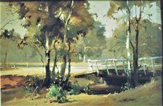 Bridge-OIL 60 cm Painted on locationMar Watercolor Landscape, Landscape Paintings, Watercolour, Watercolor Paintings, Landscapes, Outdoor Painting, Australian Bush, Australian Artists, Bridges