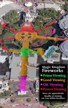 Magic Kingdom Fireworks Viewing Areas. Adding an important tip...when leaving the park after fireworks remember that all of the stores on the right hand side of Main St. are connected. Cutting through the stores will get you away from the crowds on Main St. and you will arrive at the park exit in no time at all !