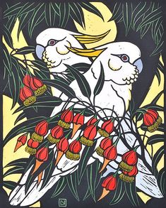 Leslie van der Sluys - Sulphur Crested Cockatoo and Fuschia Gum 1981 Australian Native Flowers, Australian Birds, Australian Plants, Australian Artists, Linocut Prints, Art Prints, Block Prints, Art Pictures, Photos