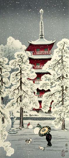 Pagoda and Trees in the Snow, Japanese, 20th century, Harvard Art Museums - After Takahashi Hiroaki, Japanese (Asakusa district, Tokyo 1871 - 1945 Hiroshima)