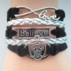 Infinity Love Oakland Raiders Football - Show off your teams colors! Cutest Love Oakland Raiders Bracelet on the Planet! Don't miss our Special Sales Event. Many teams available. www.DilyDalee.co