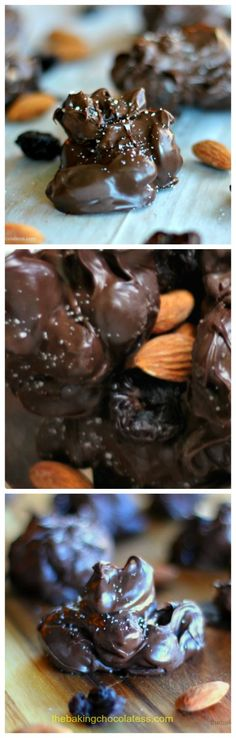 The Baking ChocolaTess | Dark Chocolate Covered Almond and Cherry Clusters with Sea Salt {4 ingredients!} | http://www.thebakingchocolatess.com