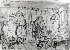 """Estelle Ishigo. """"All in one room."""" Pencil sketch of family life in barracks of Heart Mountain concentration camp. A woman gets hot water for tea from heating stove on left as boy talks to her. Man sits in chair under laundry line of clothes with a small child standing before him. Woman holds an infant, right, behind a woman lounging on a bed in foreground."""