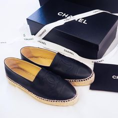 Smitten with my new black leather Chanel Espadrilles
