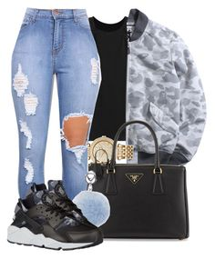 """""""Back to school"""" by ty-bands ❤ liked on Polyvore featuring Chicnova Fashion, Michael Kors, Prada and NIKE"""
