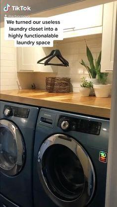 Small Laundry Closet, Laundry Closet Makeover, Laundry Shelves, Garage Laundry, Laundry Room Remodel, Laundry Room Storage, Small Laundry Sink, Laundry Room Tables, Laundry Room Countertop