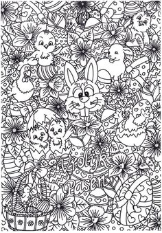 coloring page easter Printable Adult Coloring Pages, Coloring Pages To Print, Colouring Pages, Free Coloring, Coloring Sheets, Coloring Books, Easter Puzzles, Color Puzzle, Printable Pictures