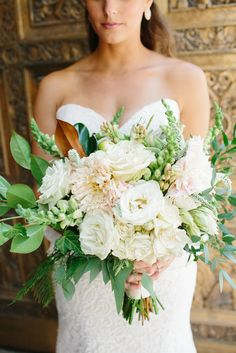 Textured Botanical White and Blush Bridal Bouquet | Photo: Meg Cooper Photography | Bouquet: Fox & Fern Floral