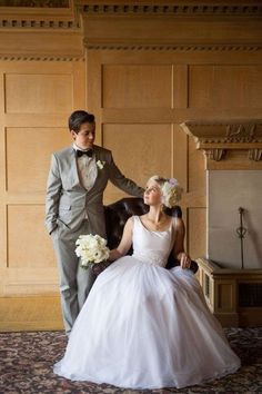 8596a1fee46 Two Brides style inspiration - one in a classic gray suit