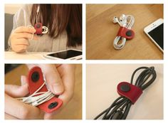 Red Genuine Leather Earphone Organizer