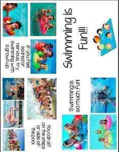 Printable Social Story Book: Swimming is Fun  Print, Cut, & Staple Together!   This Social Story Book Covers: Things You Need to Swim, Pool Games, Going Under Water, Sitting on the steps/side, Swimming with a Grown Up, Using Floaties or a Tube, and More!